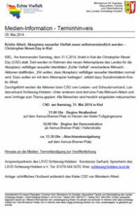 Kristin Alheit: Akzeptanz sexueller Vielfalt muss selbstverständlich werden – Christopher-Street-Day in Kiel