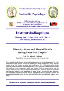 Vortrag Minority Stress and Mental Health among Same-Sex Couples